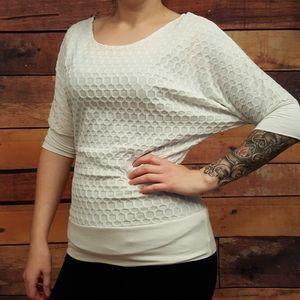 Tops - Ivory Women top. 3/4 bat sleeves. waistband